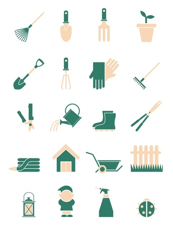 gardening hose: Yellow and green vector gardering icons.