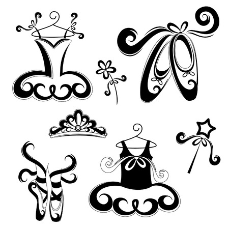 Set of ballet accessories Vector