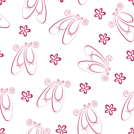 Seamless ballet shoes pattern Vector