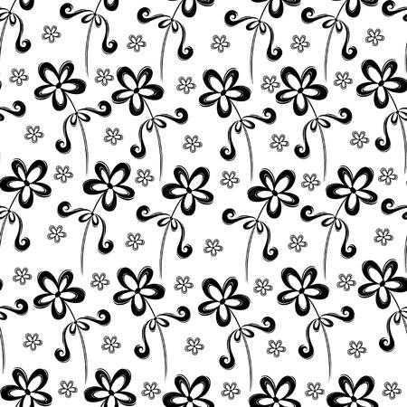 スワール: シームレスな黒と白の花の渦巻き模様のパターン
