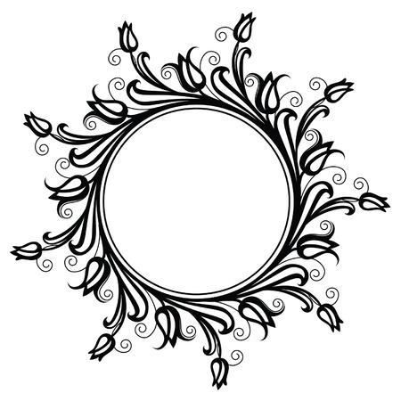 elegante: Elegante cercle cadre de fleur