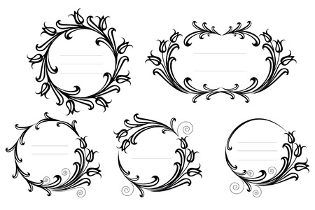 Elegant ornamental flower frames