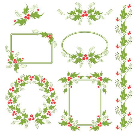 Design elements with holly berries Ilustração