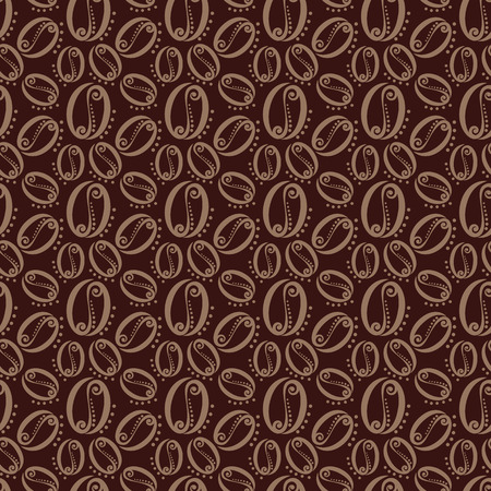 Seamless pattern of coffee beans illustration Vector