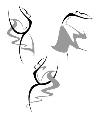 A set of dynamic ballet dancers Vector