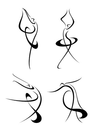 A set of dynamic ballet dancers Illustration