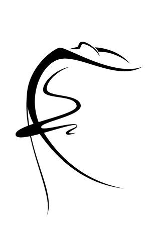 danseres silhouet: Een abstract beeld van een balletdanser Stock Illustratie