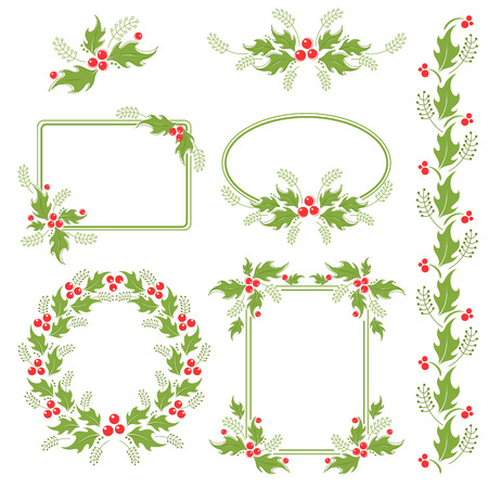 A set of decorative Christmas design elements with holly berries