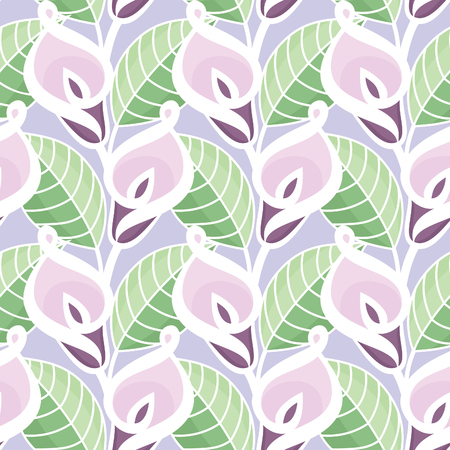 Colorful Vector Seamless Pattern with Calla Lilies