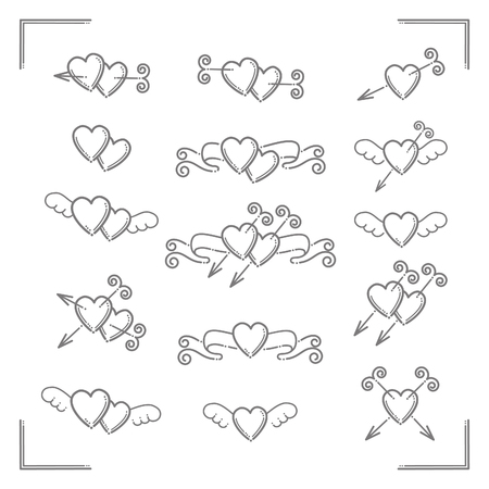 Set of  vector  love icons
