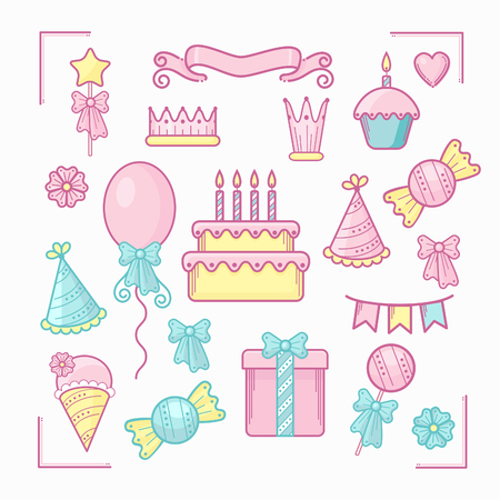 Set of birthday party icons.