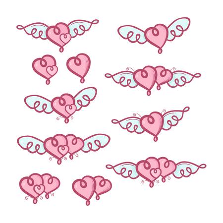 Set of love hearts valentines Ilustração