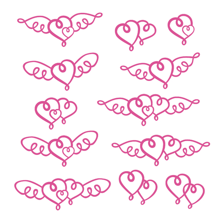 Set of love hearts valentines Illustration