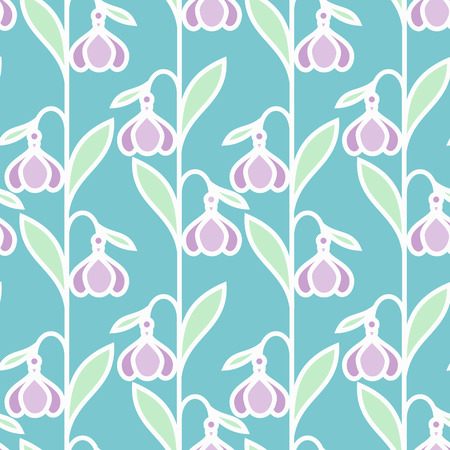 Seamless spring pattern with stylized snowdrop flowers
