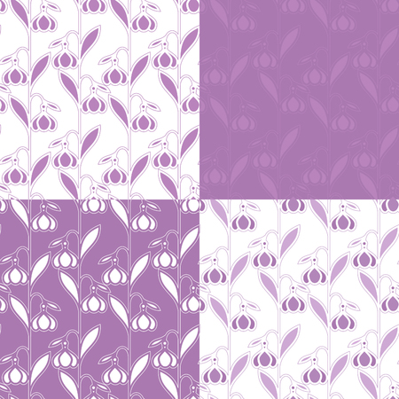 Set of spring patterns with stylized snowdrop flowers