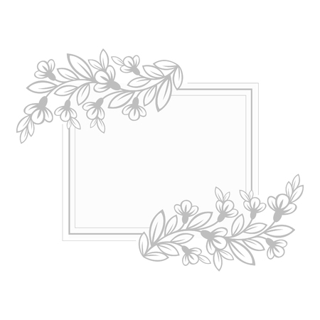 flower layout: Spring frame with flowers silhouette