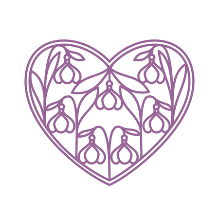Love heart in paper cutting style