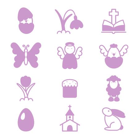 Set of easter icons. Ilustração