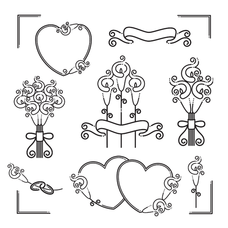 Set of wedding icons with calla lilies.