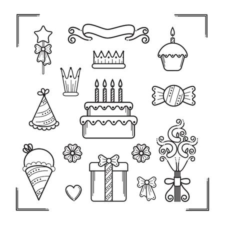 Set of birthday party icons Ilustração