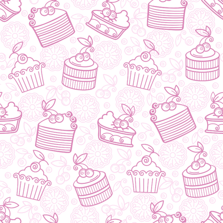 Seamless vector pattern with sweet deserts. Ilustração