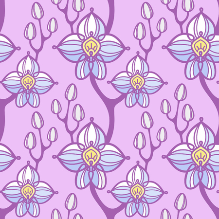 Vector seamless pattern with orchid flowers