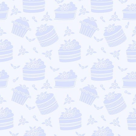 gateau: Vector seamless pattern with blueberry pies and cakes