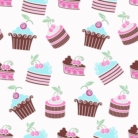 Pastry seamless vector pattern Ilustração