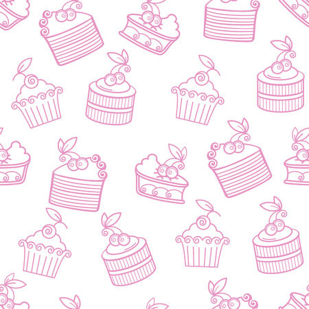 cupcakes isolated: Pastry seamless vector pattern Illustration