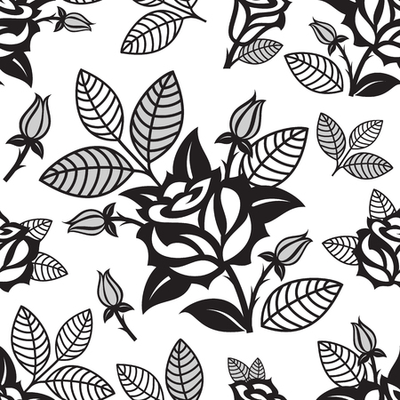 Vector floral decorative seamless pattern.
