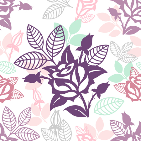 Vector floral seamless pattern with roses silhouettes.