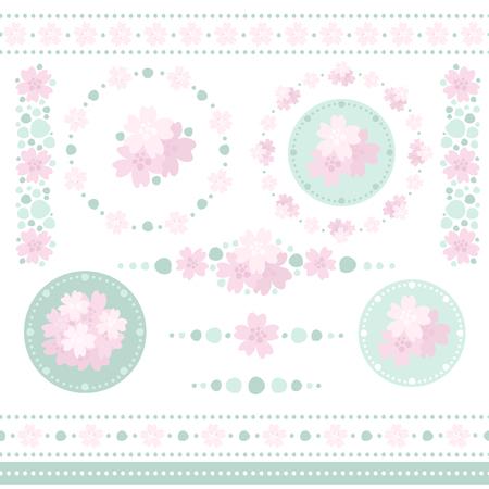 Collection of floral design elements. Ilustração