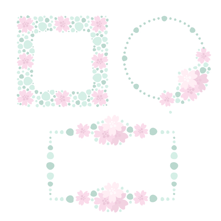 Collection of floral design frames in pastel colors