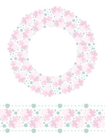 Vector floral design elements. Decorative wreath and seamless horizontal border.