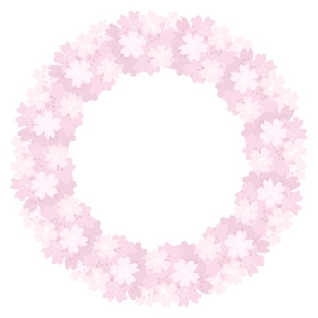 Vector decorative floral wreath. Blooming cherries.