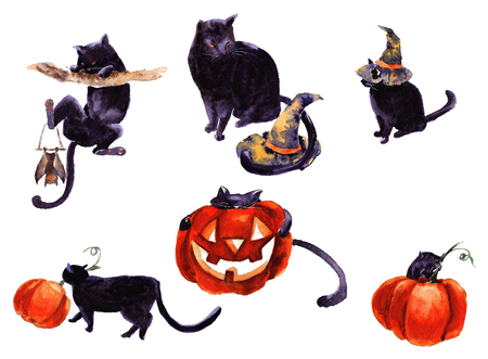 Set Of Cat Cartoon With Different Actions, Halloween Stock Photo