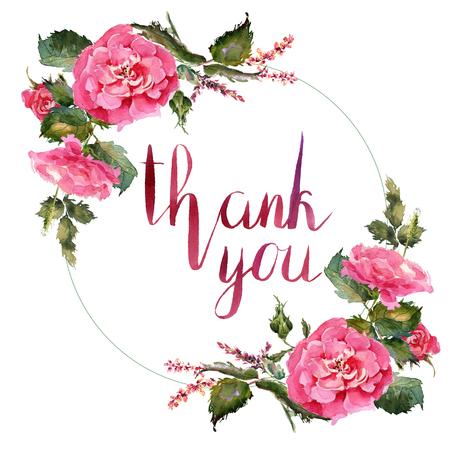 Marco romántico de la guirnalda de las flores de la rosa de la acuarela Decoración del jardín Foto de archivo - 87324594