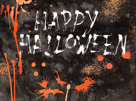 Halloween illustration card watercolor Cartoon With Different Actions Stock Photo