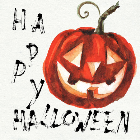 Halloween illustration card watercolor Cartoon With Different Actions 版權商用圖片
