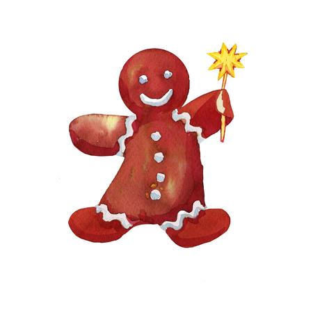 Cartoon Christmas Gingerbread Man keeps the golden star drawn watercolor Stock Photo