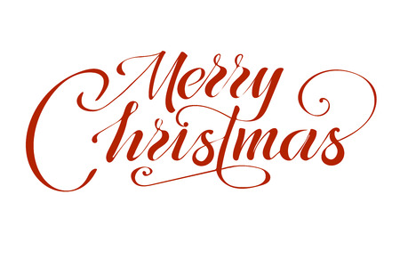 Merry christmas text vector on white background. Lettering for invitation, wedding and greeting card, prints and posters. Hand drawn inscription Illustration