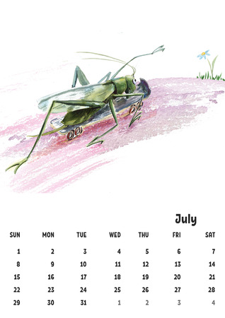 2018 calendar template july with watercolor pictures grasshopper Stock Photo