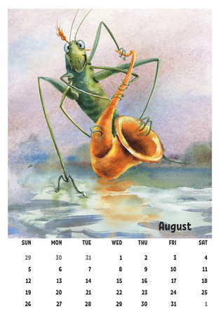 2018 calendar template august with watercolor pictures grasshopper