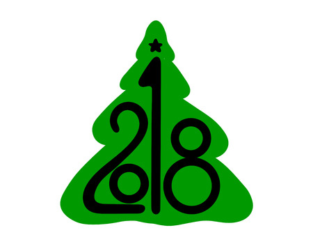 2018 in an abstract christmas tree vector on white background. Lettering for invitation, wedding and greeting card, prints and posters