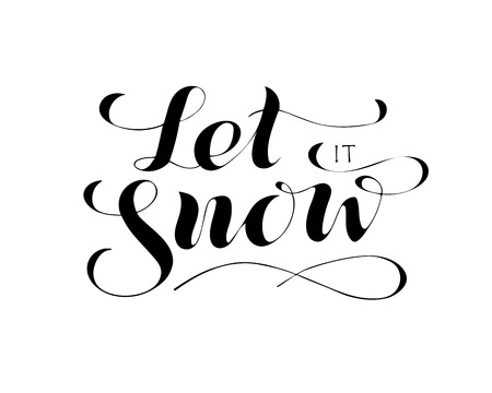 let it snow - hand lettering inscription to winter holiday design, black and white ink calligraphy, vector illustration
