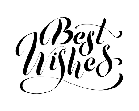Best wishes - hand lettering inscription to winter holiday design, black and white ink calligraphy, vector illustration Çizim
