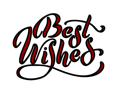 Best wishes - hand lettering inscription to winter holiday design, black and white ink calligraphy, vector illustration Vettoriali