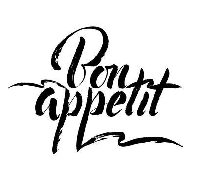 Guten Appetit - übergeben Sie Beschriftungsaufschrift zum Winterurlaubdesign, Schwarzweiss-Tintenkalligraphie, Vektorillustration Standard-Bild - 92710301