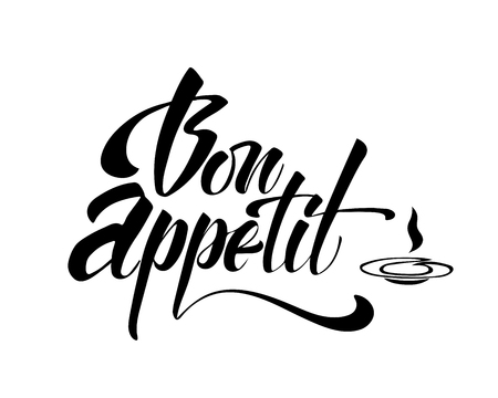 Bon appetit - hand lettering inscription to winter holiday design, black and white ink calligraphy, vector illustration.