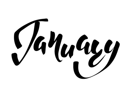 January month - hand lettering inscription to design, black and white ink calligraphy.
